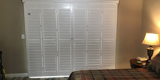 White Slider Door Shutters in Lake Havasu City